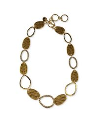 Jones New York | Multicolor Gold Tone Sparkling Oblong Hammered Metal Collar Necklace | Lyst