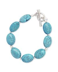 Kenneth Cole - Blue Silvertone Turquoise Bead Toggle Bracelet - Lyst
