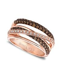 Le Vian | Pink 14k Rose Gold White and Chocolate Diamond Crisscross Ring 78 Ct Tw | Lyst