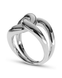 Michael Kors - Metallic Silver Tone Twisted Knot Ring - Lyst