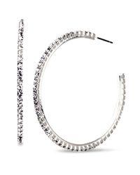 Nine West - Metallic Crystal Hoop Earrings - Lyst