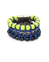 Proenza Schouler | Blue Neon Bead Chain and Rope Bracelet | Lyst
