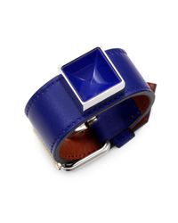 Proenza Schouler - Blue Ps11 Leather & Lacquer Large Bracelet - Lyst