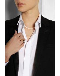 Saint Laurent - Metallic Pearl Necklace - Lyst