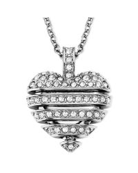 Swarovski | Metallic Rhodiumplated Small Crystal Sensible Heart Pendant Necklace | Lyst