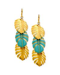 T Tahari | Metallic 14k Gold Plated Turquoise Triple Leaf Drop Earrings | Lyst