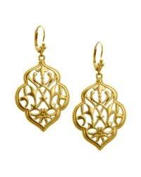 T Tahari   Metallic Gold-tone Filigree Drop Earrings   Lyst