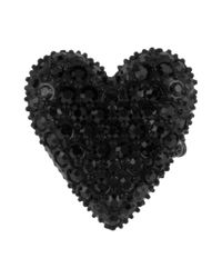 Betsey Johnson | Gold Tone Black Crystal Heart Stretch Ring | Lyst