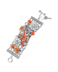 Betsey Johnson - Metallic Rhodium-plated Flower Wide Toggle Bracelet - Lyst