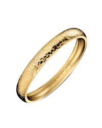 Calvin Klein - Metallic Gold Pvd Stainless Steel Hammered Bangle Bracelet - Lyst