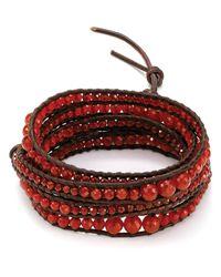 Chan Luu - Red Five Wrap Carnelian Bracelet - Lyst