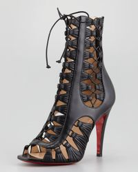 Christian Louboutin   Azimut Caged Leather Bootie Black   Lyst