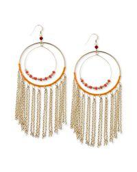 Guess - Metallic Earrings Goldtone Double Ring Gypsy Hoop Earirngs - Lyst