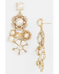 kate spade new york | Metallic Park Floral Chandelier Earrings | Lyst