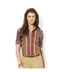 Lauren by Ralph Lauren - Multicolor Rolltab Cotton Workshirt - Lyst