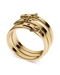 Michael Kors | Metallic Gold Ionplated Steel Buckle Rings | Lyst
