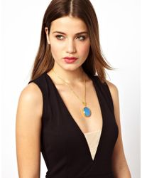 ASOS - Blue One Drop Necklace - Lyst