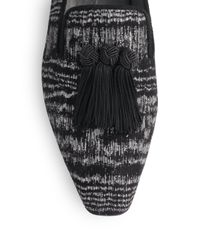 Stuart Weitzman - Black Tasstrip Textured Suede Tassel Smoking Slippers - Lyst