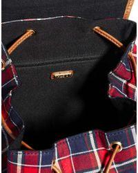 ALDO - Red Foldfald Studded Tartan Backpack - Lyst