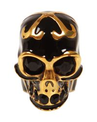 Alexander McQueen | Metallic Gold and Black Enamel Skull Ring | Lyst