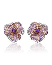 AS29 Purple Amethyst Pave Diamond Flower Earrings