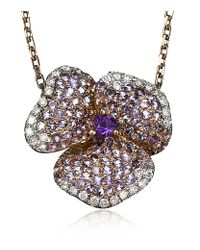 AS29 | Pink Amethyst Pave Diamond Flower Necklace | Lyst