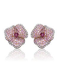 AS29 - Pink Pave Diamond Flower Earrings - Lyst