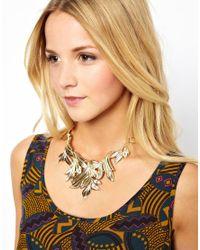 ASOS - Metallic Statement Leaf Collar Necklace - Lyst