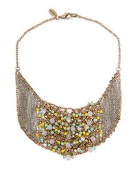 Mango | Metallic Touch Chains and Beads Necklace | Lyst