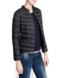 Mango - Black Funnel Neck Coat - Lyst