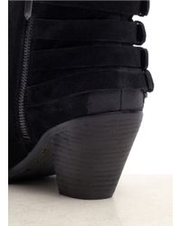Sam Edelman - Black Lucca Buckled Suede Booties - Lyst