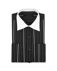 Sean John - Black and White Pinstripe Longsleveed Shirt with White Collar and French Cuffs for Men - Lyst