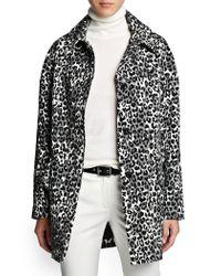 Mango - Black Leopard Print Oversize Coat - Lyst