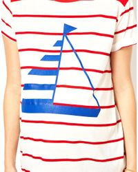 ASOS - Brown Exclusive Boyfriend Tee in Stripe and Boat Print - Lyst