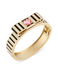 Betsey Johnson - Metallic Antique Goldtone Pink Crystal Heart Black and White Striped Hinged Bangle Bracelet - Lyst