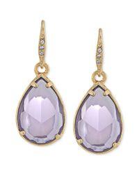 Carolee - Goldtone Purple Stone Teardrop Earrings - Lyst