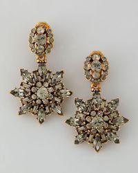 Oscar de la Renta - Metallic Black Crystal Starburst Clip Earrings - Lyst