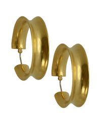 T Tahari - Metallic 14k Goldplated Concave Hoop Earrings - Lyst