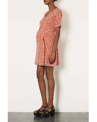 TOPSHOP - Maternity Daisy Red Tea Dress - Lyst