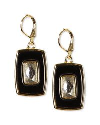 Anne Klein - Goldtone Crystal and Black Rectangle Drop Earrings - Lyst