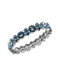 Anne Klein | Metallic Silver Tone Blue Stone Single Row Stretch Bracelet | Lyst