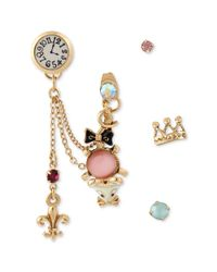 Betsey Johnson | Antique Gold-tone Pink Mouse and Clock Stud Earrings | Lyst
