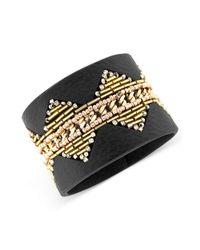 Jessica Simpson - Multicolor Tri Tone Beaded Brown Faux Leather Snap Bracelet - Lyst