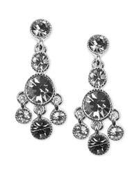 Jones New York | Metallic Silver Tne Crystal Small Chandelier Clipon Earrings | Lyst