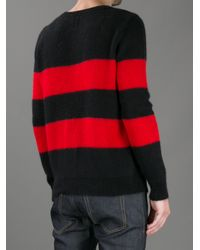 Saint Laurent | Red Striped Sweater for Men | Lyst