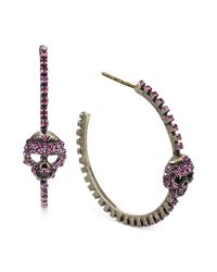 Steve Madden | Goldtone Pink Crystal Skull Hoop Earrings | Lyst