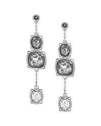 Swarovski - Metallic Palladium plated Gray Ombre Crystal Triple Drop Earrings - Lyst