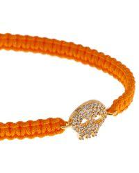 Tai - Orange Macramé Skull Charm Bracelet - Lyst