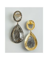 Amrapali - Metallic Rutile Quartz and Diamond Teardrop Earrings - Lyst