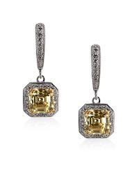 Carat* | Metallic Fancy Yellow Petite Asscher Drop Earrings | Lyst